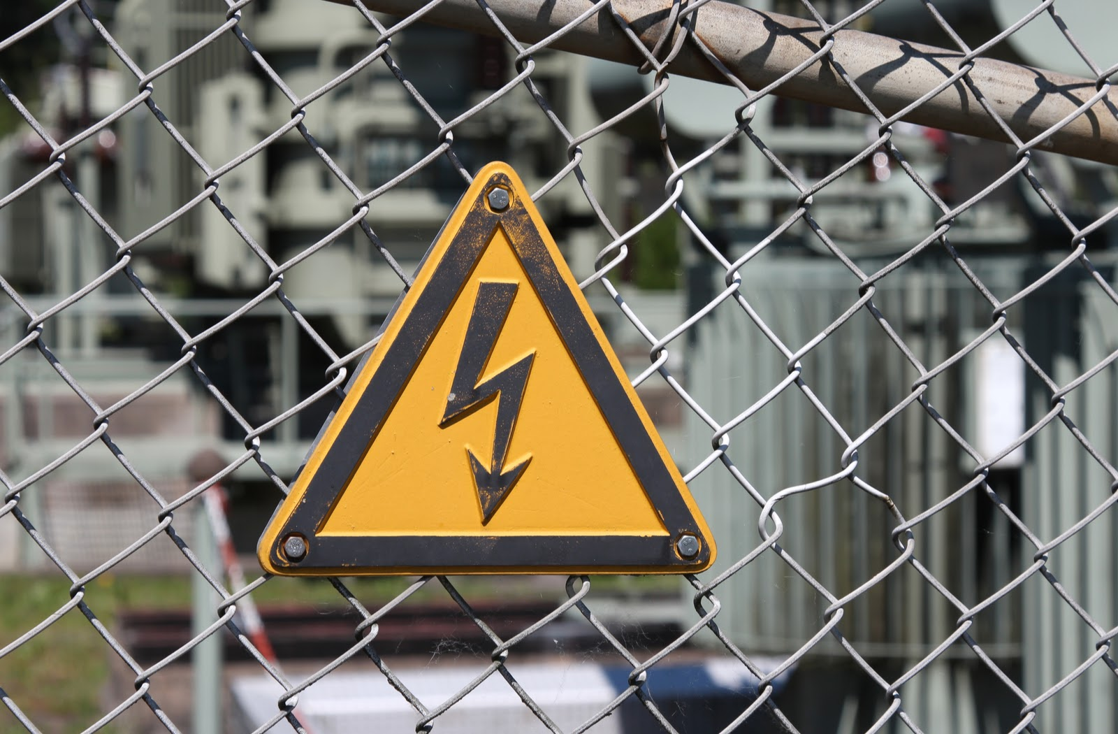 Safety signs showing electrical shock warning